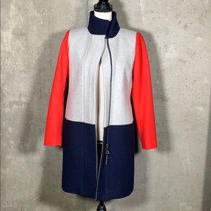 J Crew Colorblock Wool Pea Coat